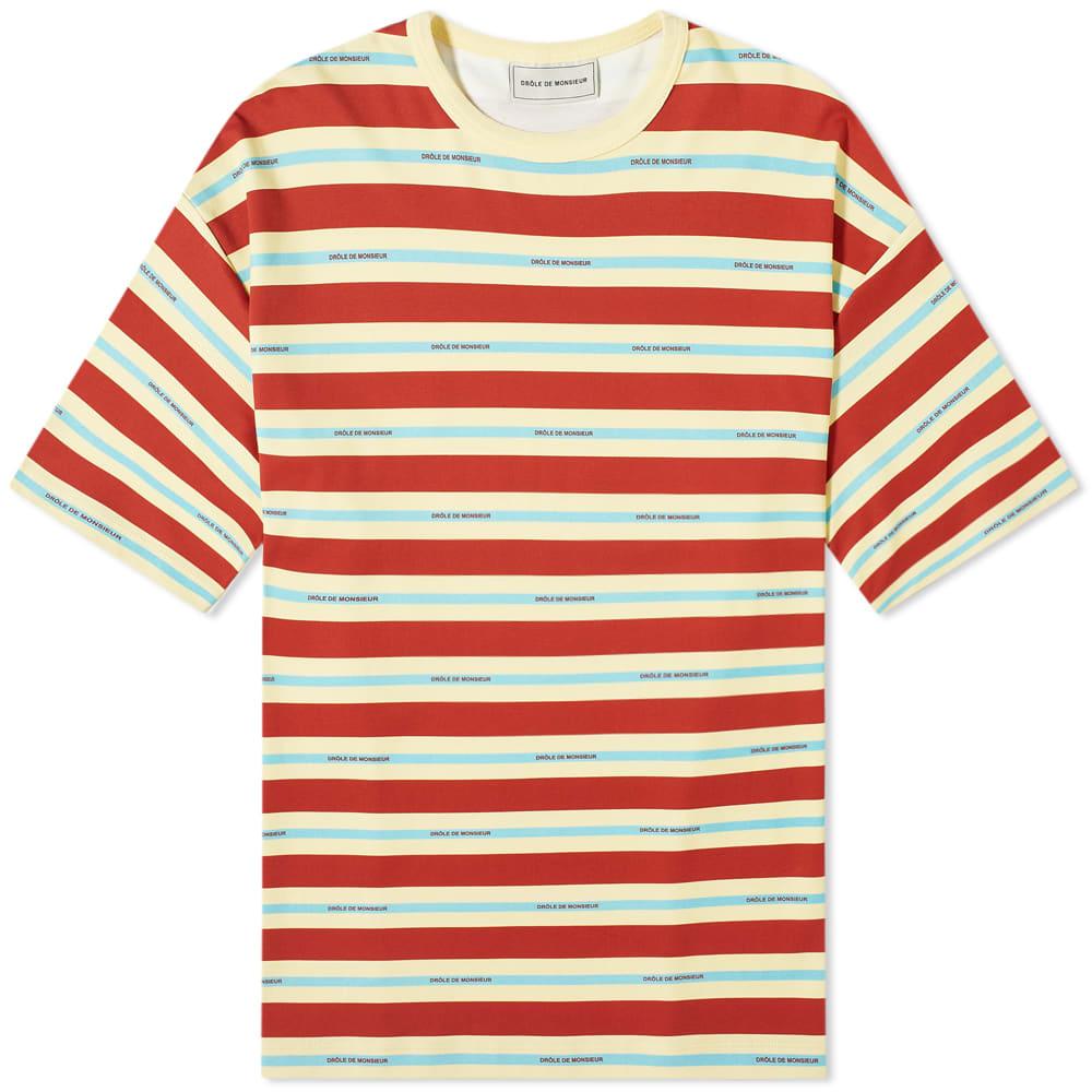 Drôle De Monsieur Drôle de Monsieur Vintage Striped Logo Tee
