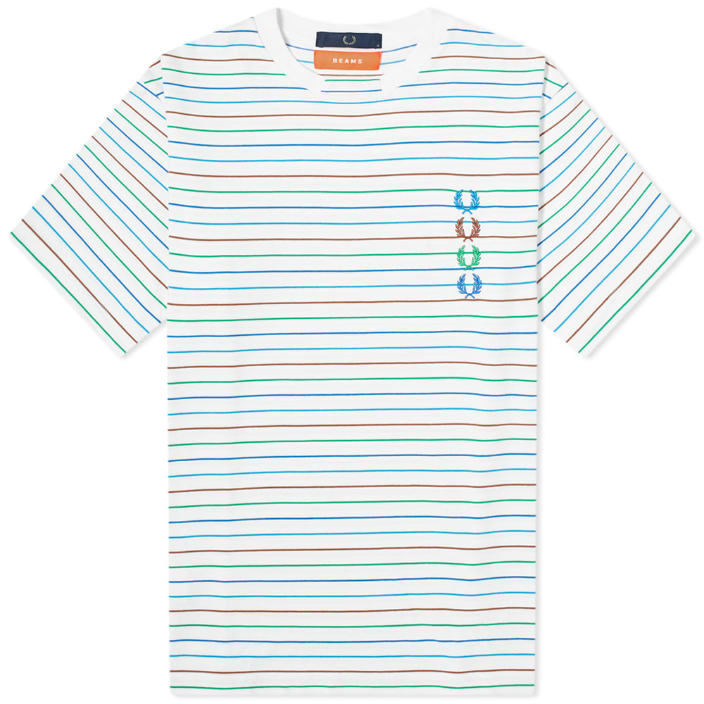 Fred Perry x Beams Striped Tee White | END.
