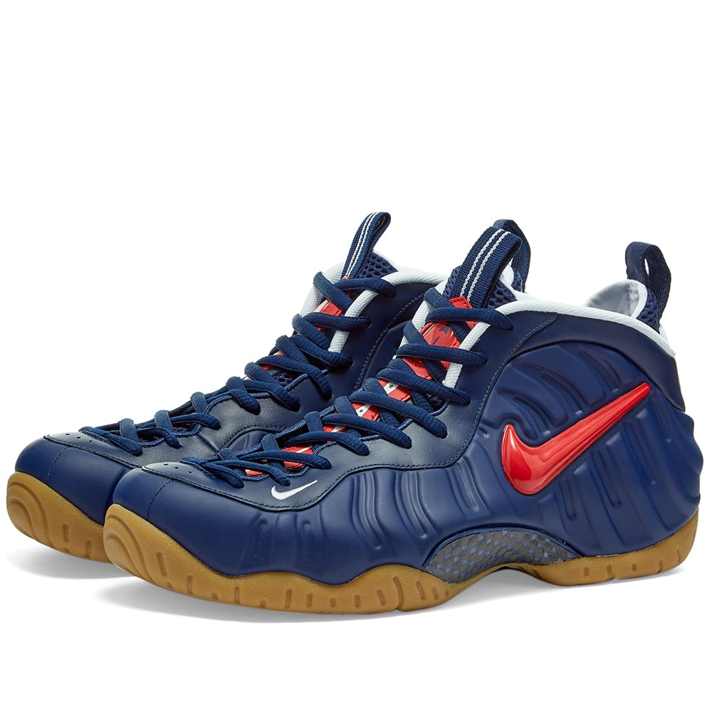 nike foamposite blue and white