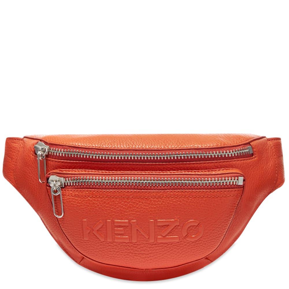 Kenzo Leather Waist Bag In Orange