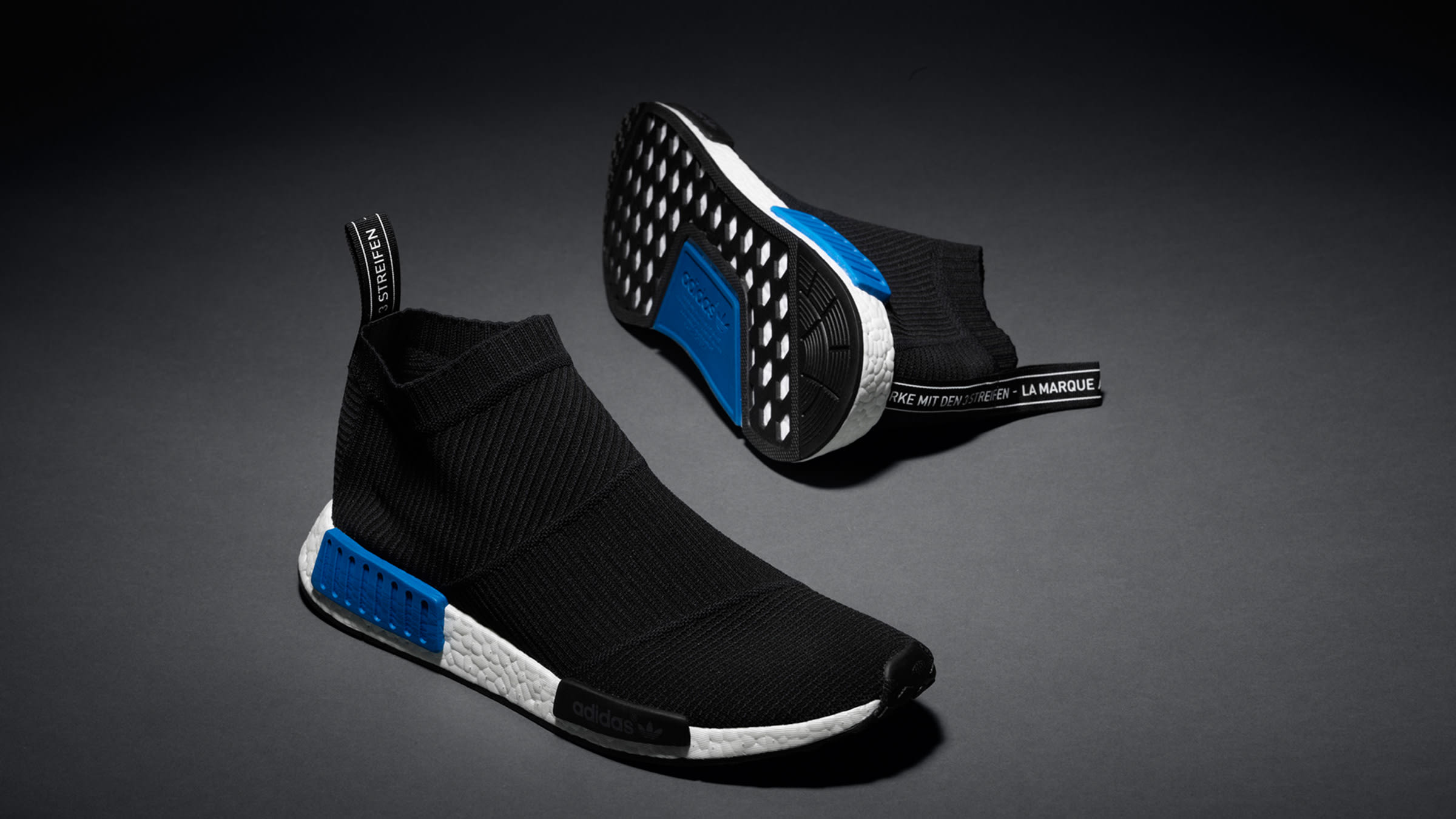 73bca60efa395 Adidas NMD CS1 PrimeKnit Core Black   Lush Blue
