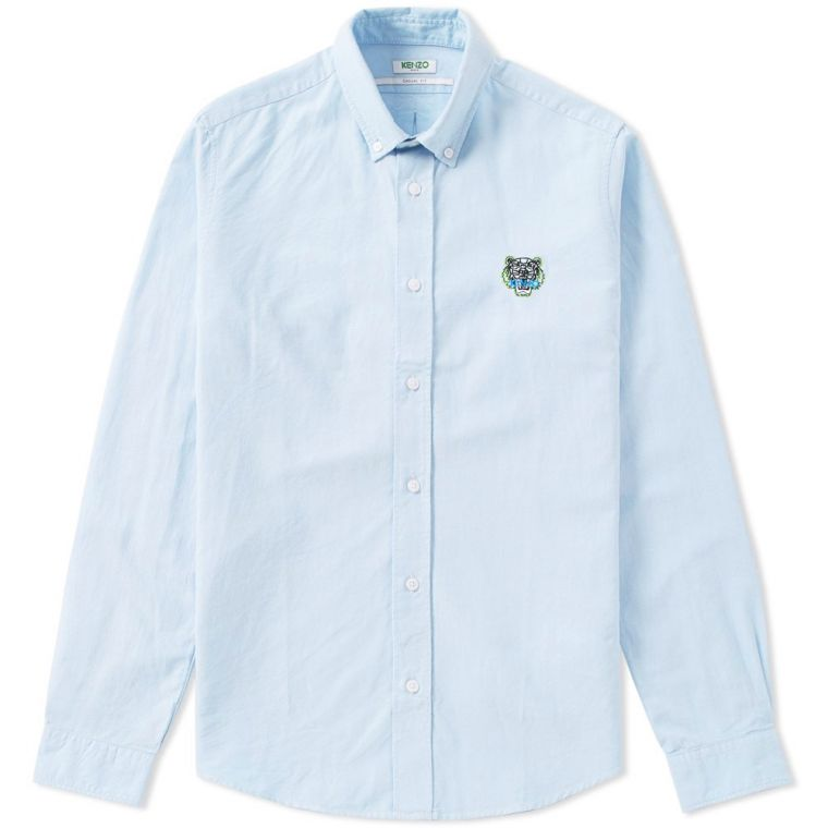 Kenzo Button Down Tiger Twill Shirt (Sky Blue)