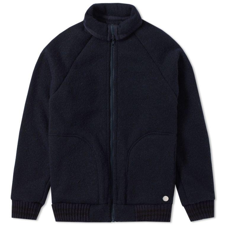 Nigel Cabourn x Peak Performance Wool Zip Fleece Jacket (Navy) | END.