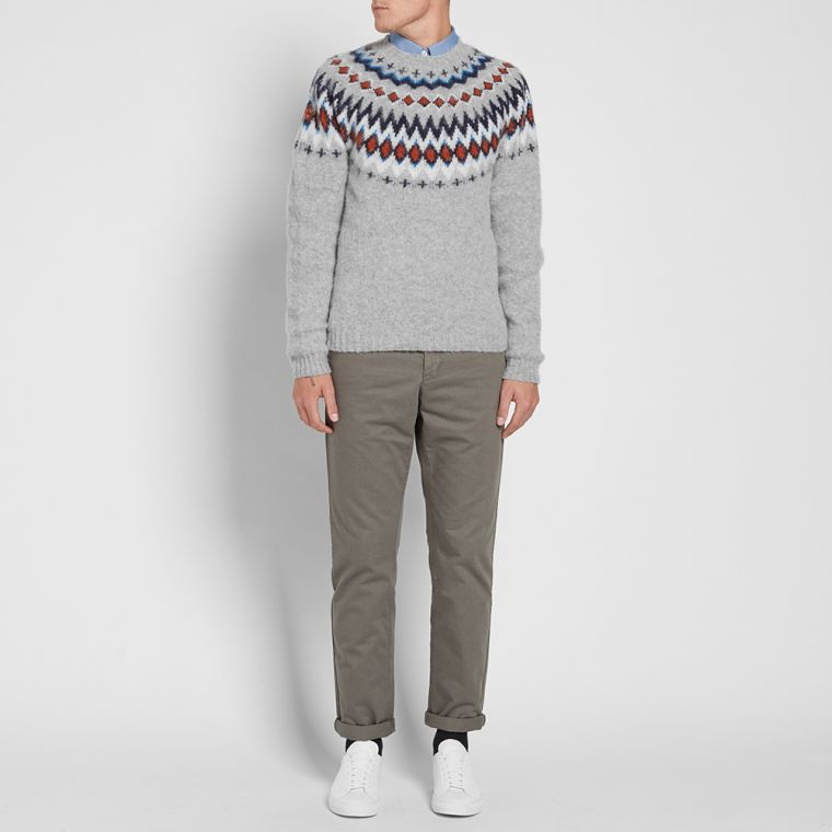 Norse Projects Birnir Fair Isle Crew Knit (Kit White) | END.