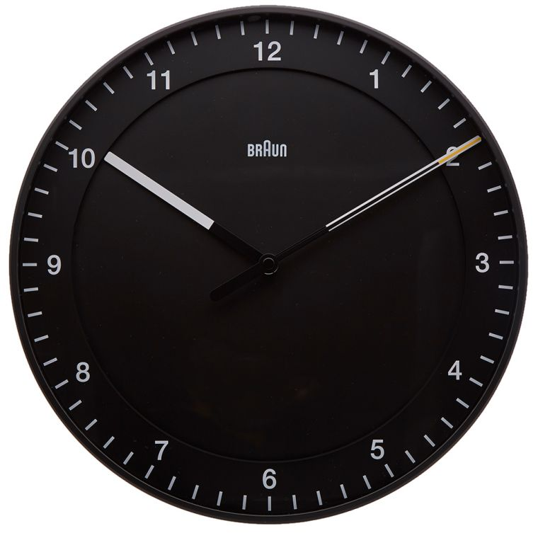 Braun 30cm Large Wall Clock Black END