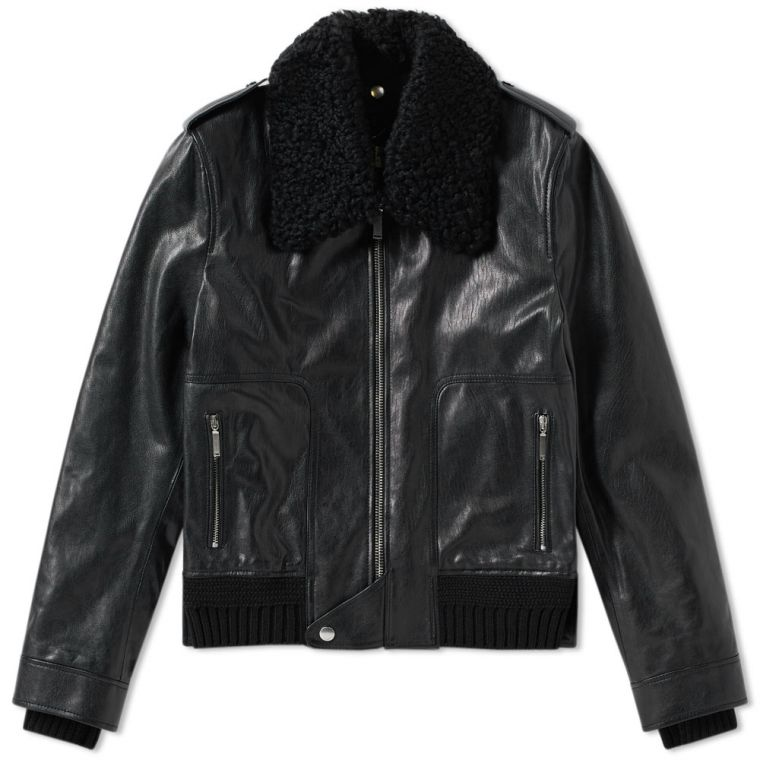 Saint Laurent Shearling Collar Leather Jacket (Black) | END.