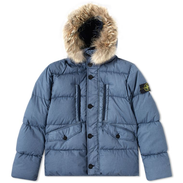 Stone Island Resin Poplin Down Jacket (Navy) | END.