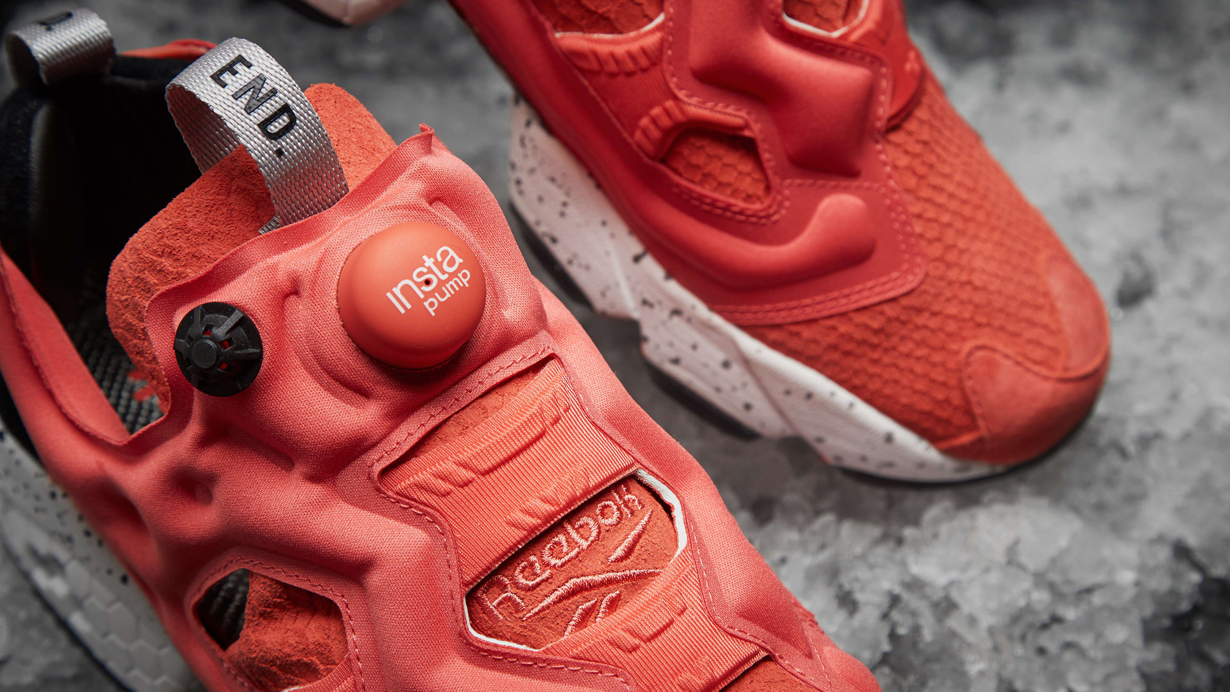 e513d29a END. x Reebok Instapump Fury OG 'Pink Salmon' Rosette, Black & White | END.