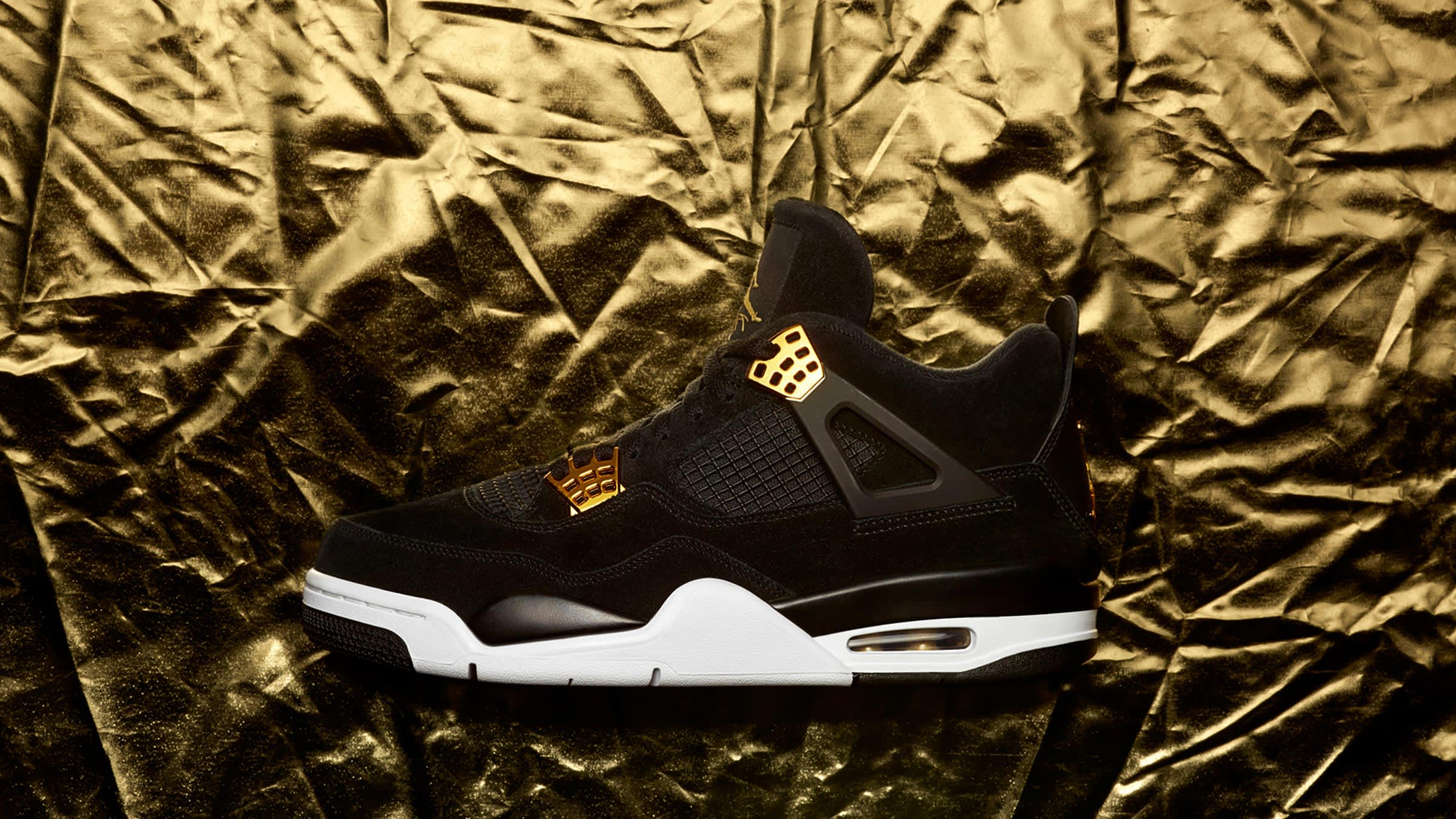 bc44b93f9546c Nike Air Jordan 4 Retro 'Royalty' Black, Metallic Gold & White | END.