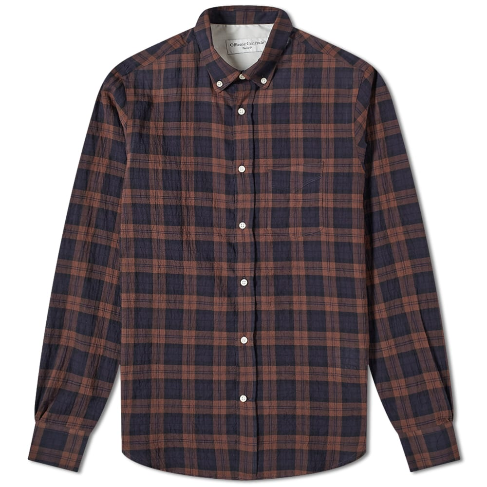 Officine Generale Officine Generale Button Down Japanese Ombre Check Shirt