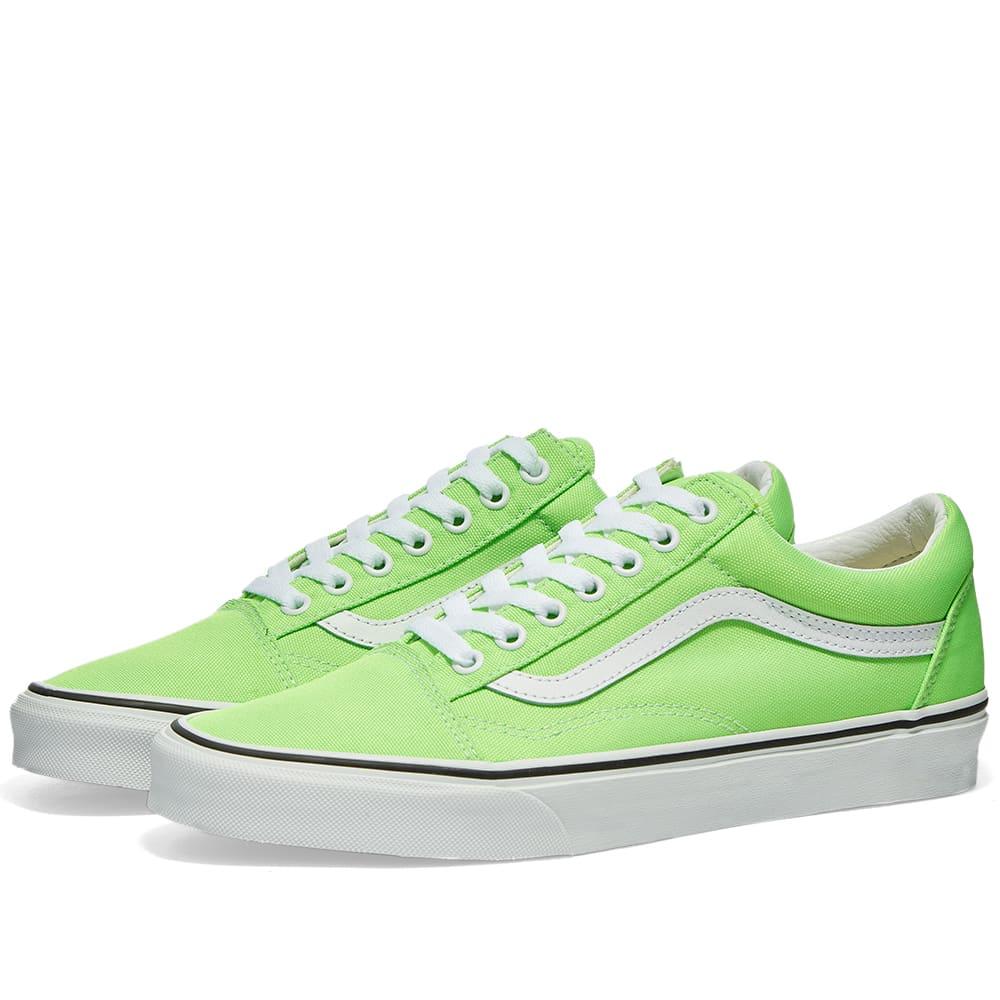 white and green vans old skool