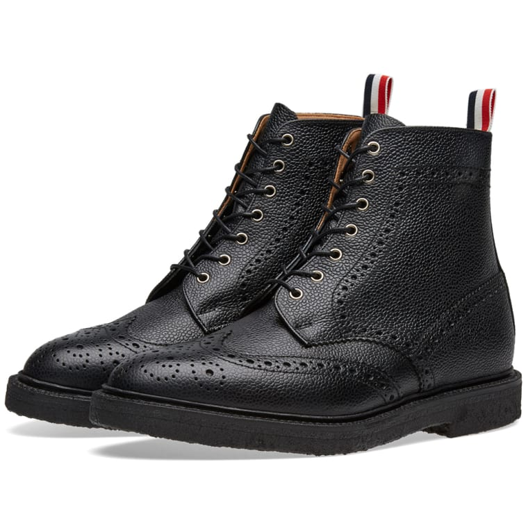 Thom Browne Black & White Leather Sock Boots fzCBSG5