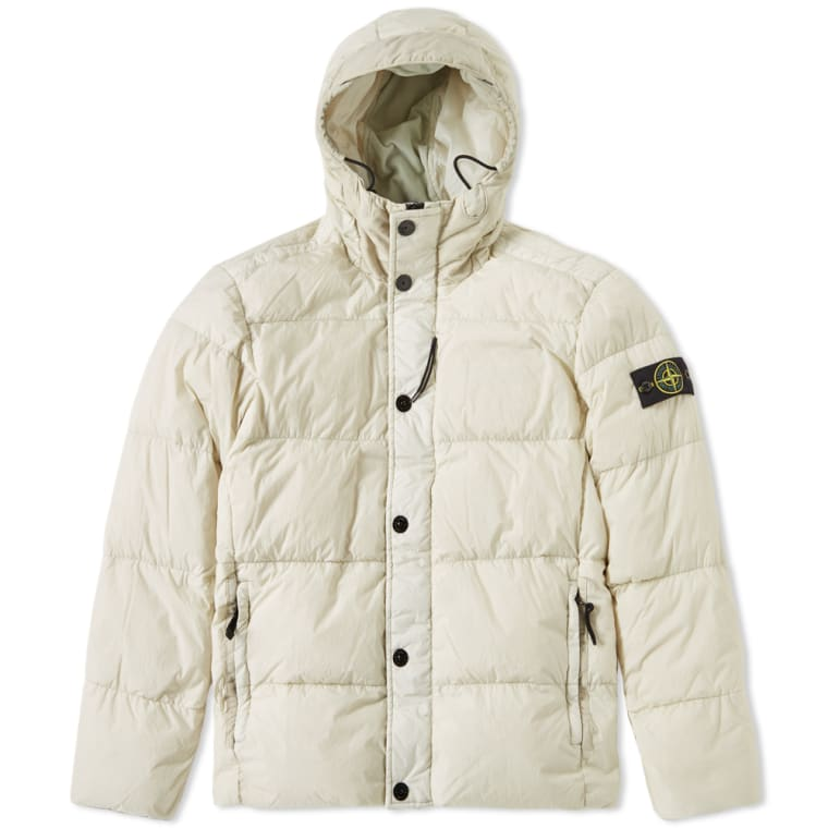 Reps White Off Stone Hooded Down 5 Island Crinkle Jacket ZwffqUE