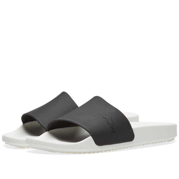 Saint Laurent Black & White Shower Slides 4ThyNw