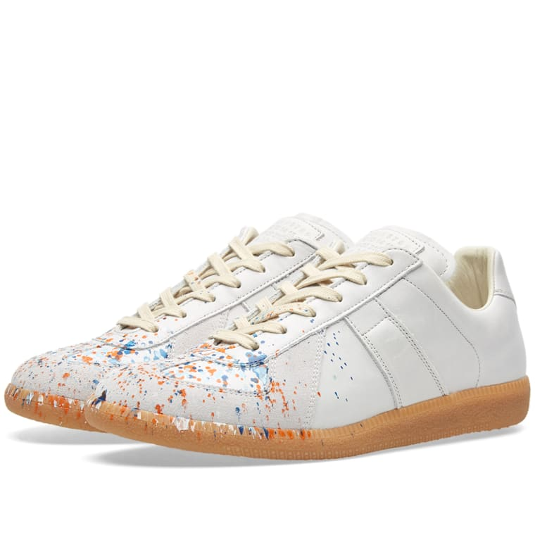 Maison Margiela White & Orange Paint Splatter Replica Sneakers Ffm6BQl