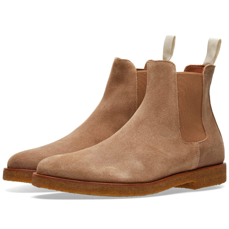 Common Projects Tan Waxed Suede Chelsea Boots 8Vuwus