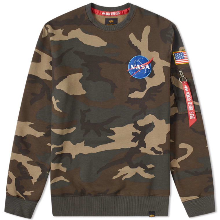 Camo Crew Patch End Sweat Alpha Industries woodland nTWXA1vXq
