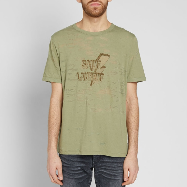 Lightning Tee in Green Saint Laurent 100% Authentic Online Shop From China For Sale Cheap Authentic RRR4UsS