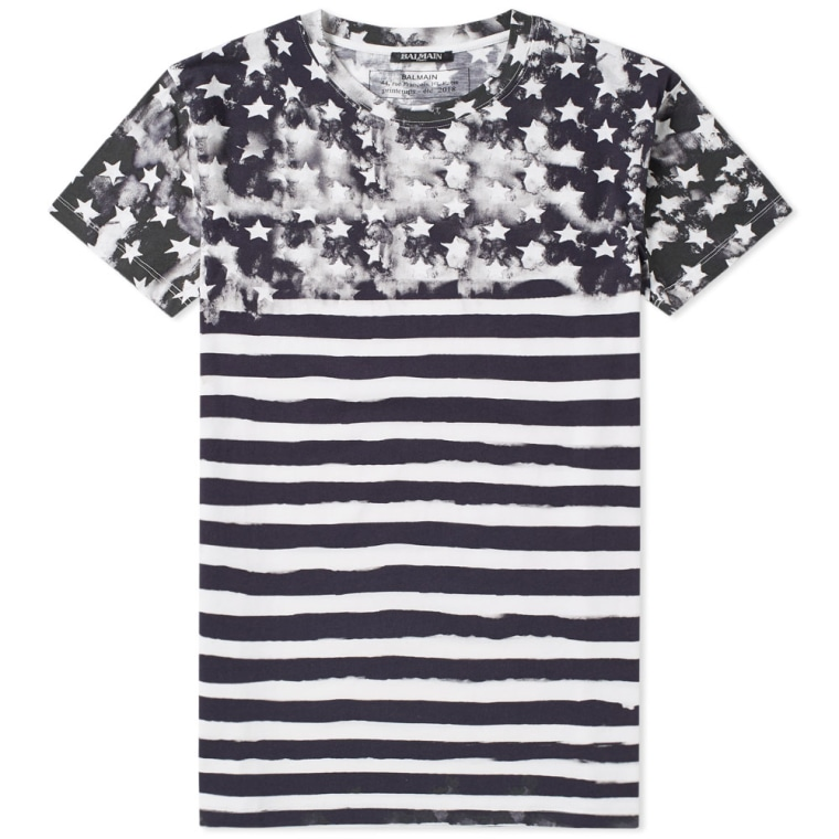 Outlet Fast Delivery Deals Cheap Price stars and stripes T-shirt - Black Balmain Clearance Largest Supplier Cheap Fashion Style Outlet Latest 0g09Upc
