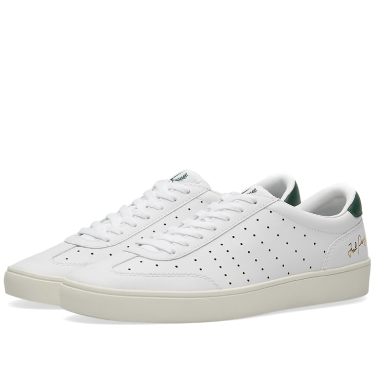 Fred Perry Umpire Leather White Green, White, 45