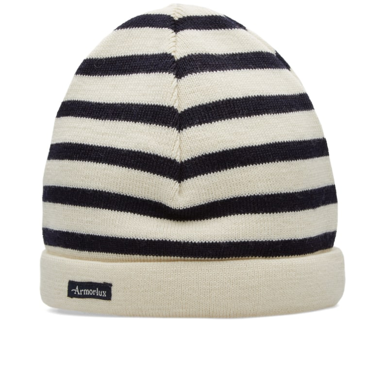 Navy and White Stripe Wool Beanie Armor Lux YSNt5
