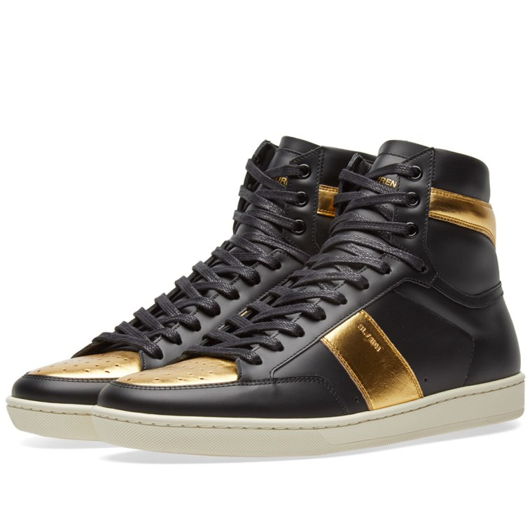 Saint Laurent Black & Gold SL/10 High-Top Sneakers K2cENvU