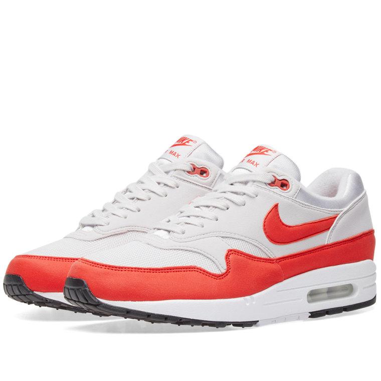 Nike SportswearAIR MAX 1 - Trainers - vast grey/habanero red hNlPRNS8g