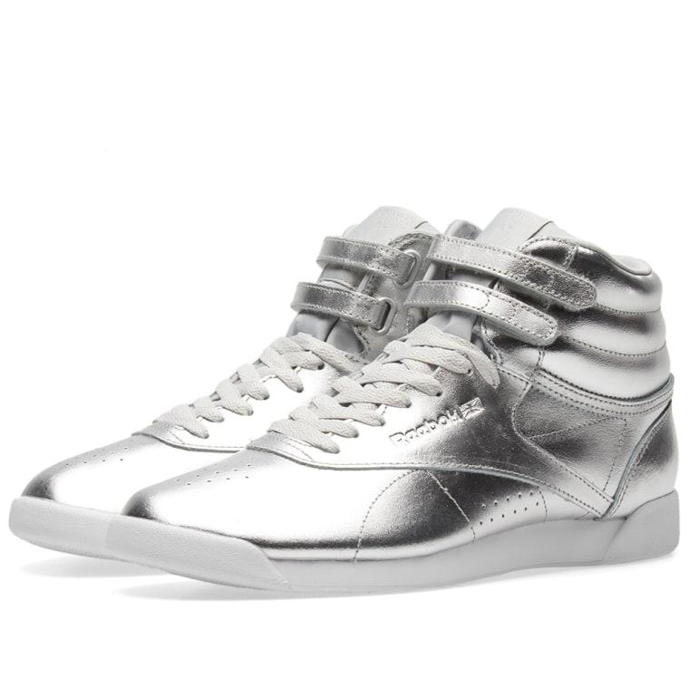 Reebok Freestyle Hi Metallic Silver Metallic/ Steel/ White