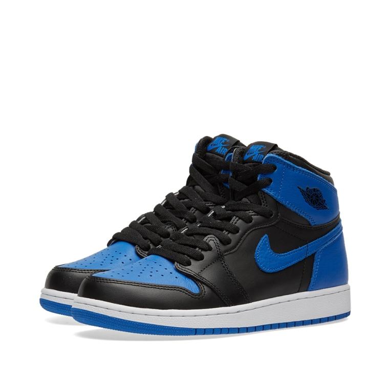 Nike Boys Air Jordan 1 Retro High BG Royal Leather Size 5Y boyVKn