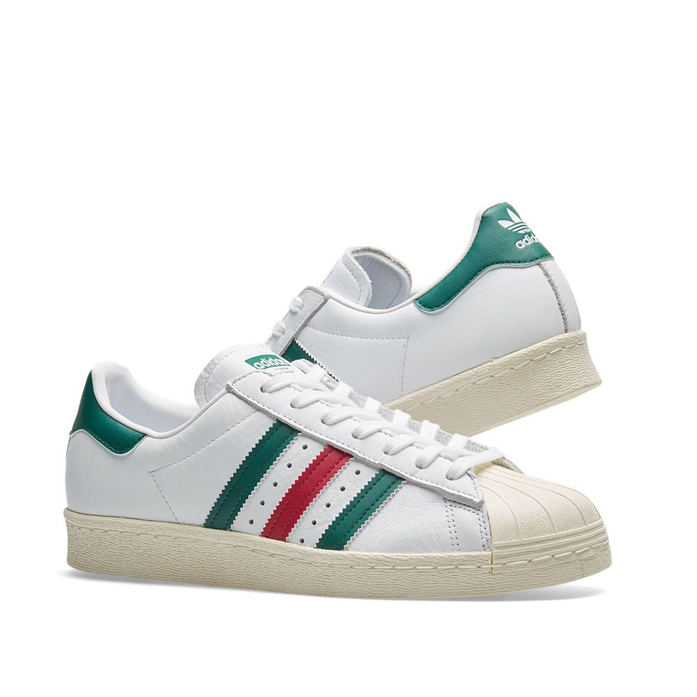 20e649374e2b32 80s Superstar WhiteGreenamp  RubyEnd Adidas jAL3q54R