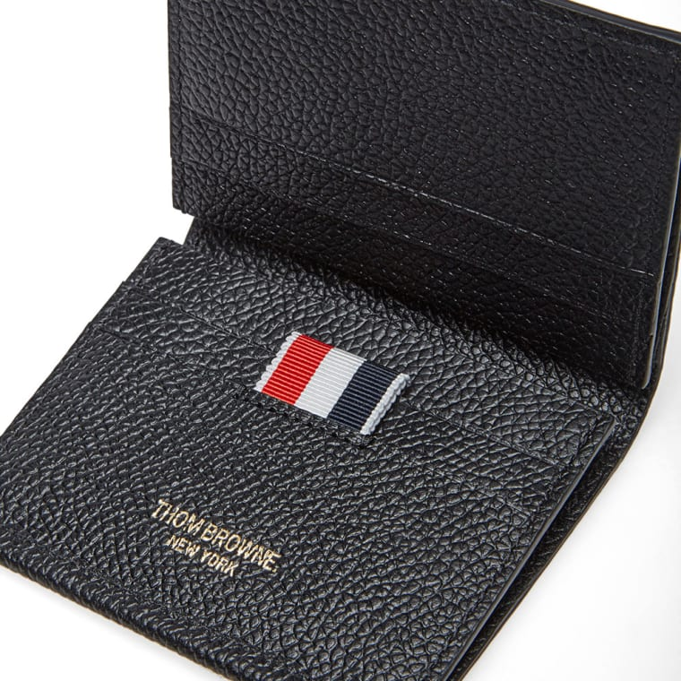 thom browne double card holder black pebble grain 3 - Thom Browne Card Holder