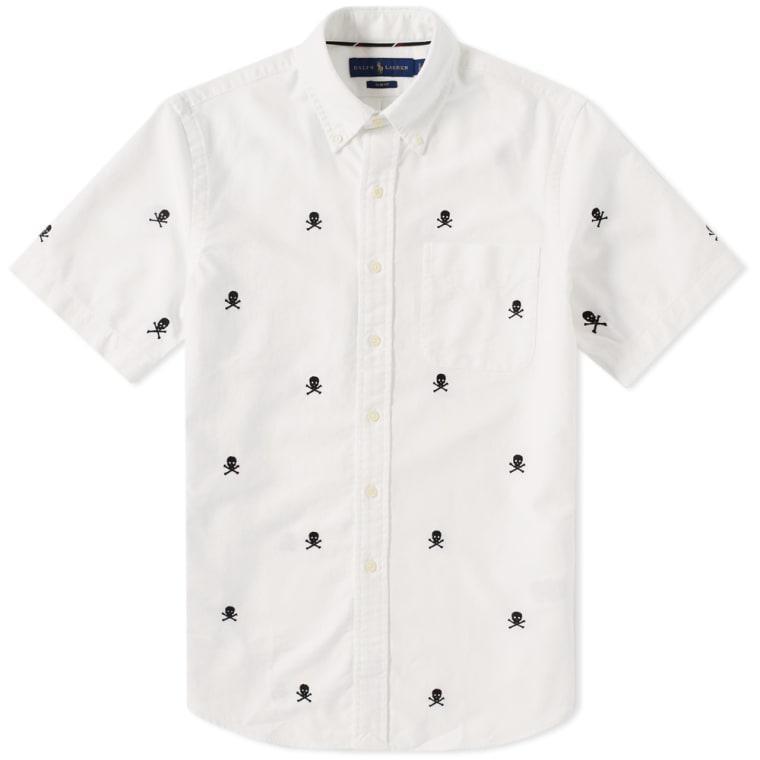 Polo Ralph Lauren Short Sleeve Skull \u0026 Crossbones Embroidered Shirt White 1