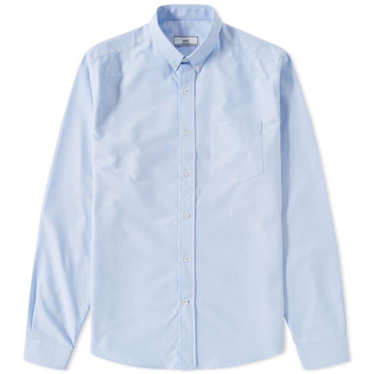 AMI Button Down Oxford Shirt (Sky Blue) | END.