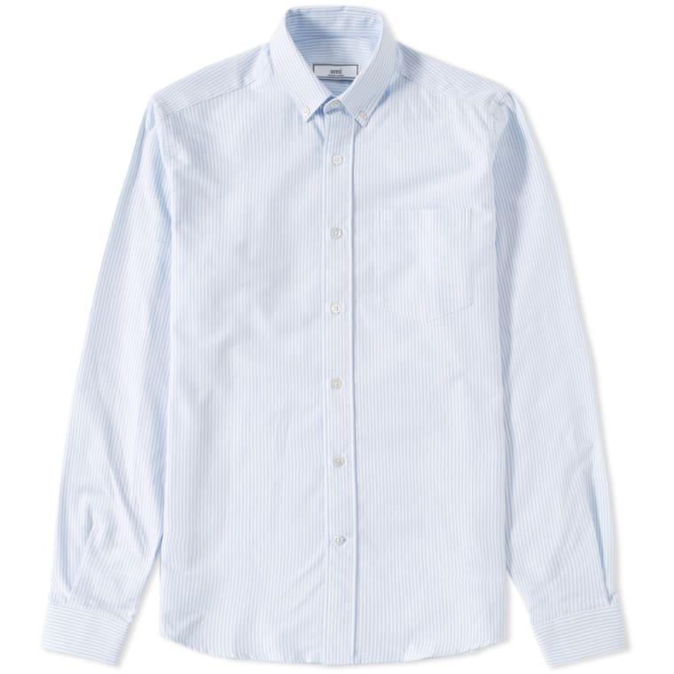 bb15fbb7b16 AMI Button Down Oxford Shirt Blue   White Stripe FLAT 1