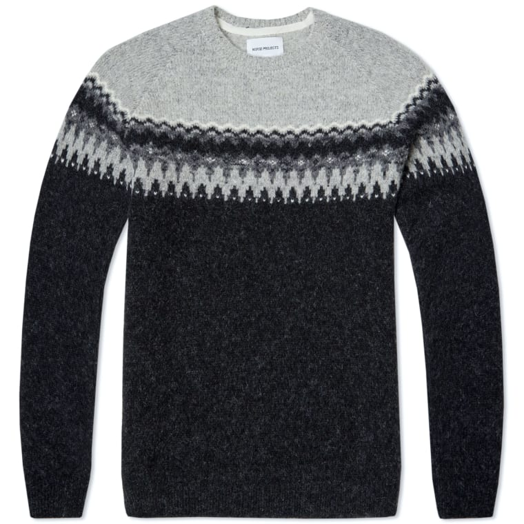 Norse Projects Birnir Fair Isle Alpaca Knit (Charcoal Melange) | END.