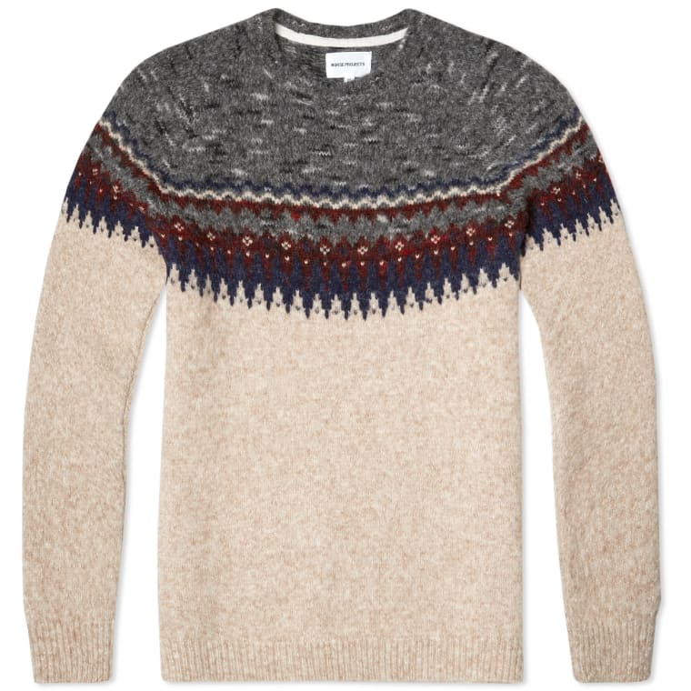 Norse Projects Birnir Fair Isle Alpaca Knit (Iron) | END.