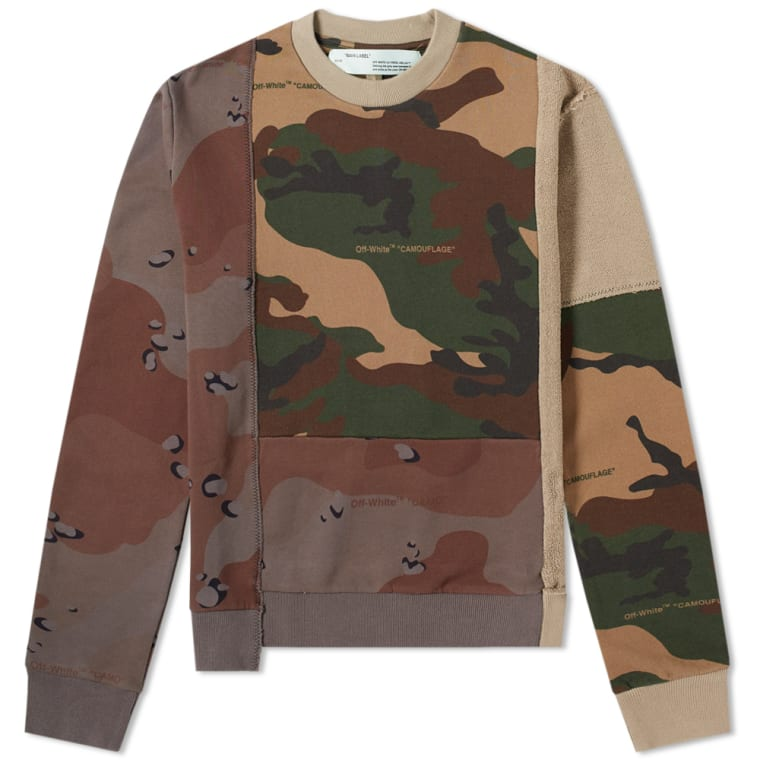 Off White Reconstructed Camo Crew Sweat Camo End