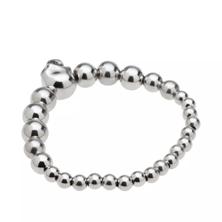 Alexander Mcqueen Skull Bead Bracelet Silver 3