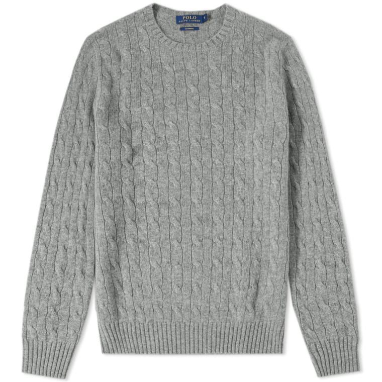 Polo Ralph Lauren Cashmere Cable Knit Grey FLAT 1