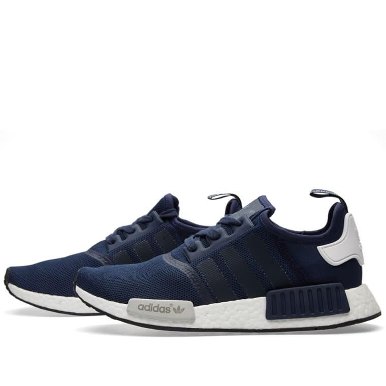 Women Adidas NMD Runner R1 S75722 Nomad White Blue Camo Navy