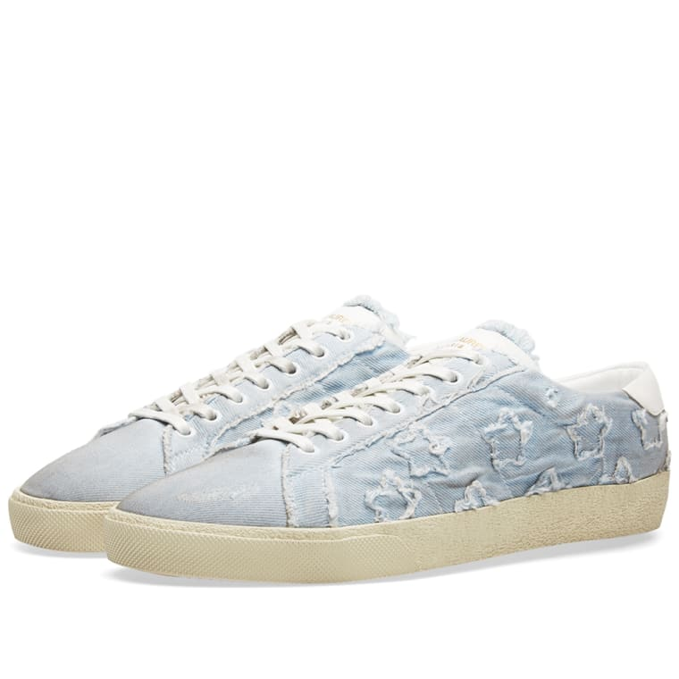 783ab0b5c32f Saint Laurent Star Sneaker (Washed White Denim)