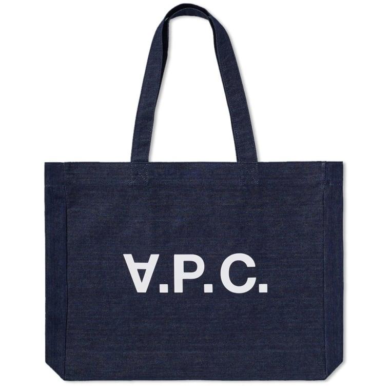 A P C Logo Denim Tote Bag Indigo 1