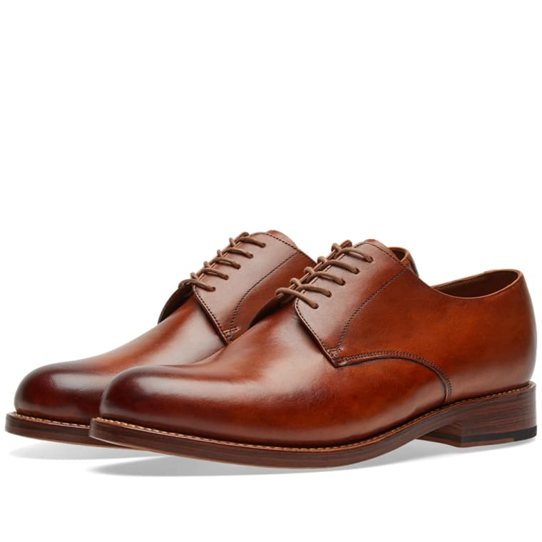 Tan Curtis Hand-Painted Leather Derbys Grenson