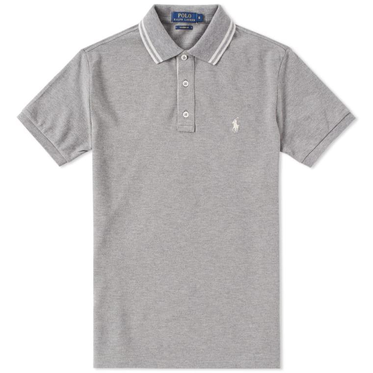 Polo Ralph Lauren Custom Fit Tipped Polo Vespa Grey Heather flat 1
