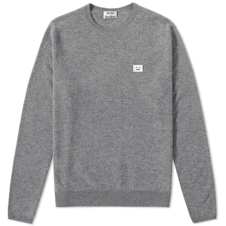save off 4b4a7 6de56 Acne Studios Dasher Face Crew Knit Grey Melange 1