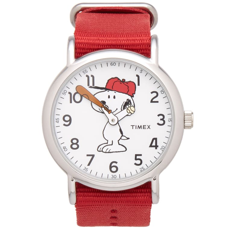 Timex x peanuts weekender silver tone snoopy end for Snoopy watches