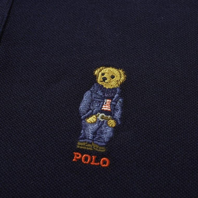 Polo Ralph Lauren Bear Embroidery Polo Aviator Navy End