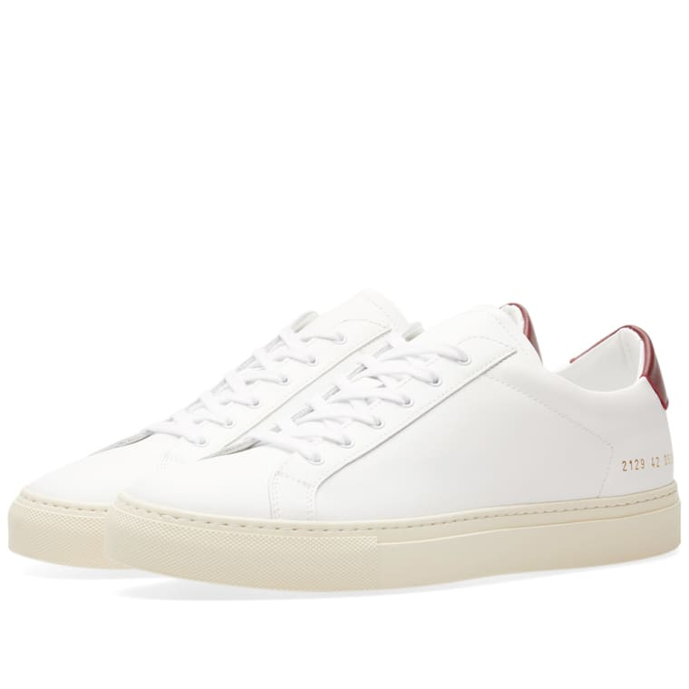 White and Burgundy Achilles Retro Low Sneakers Common Projects