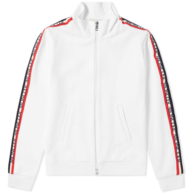 Moncler Taped Sleeve Zip Track Top (White)  a90f32af8
