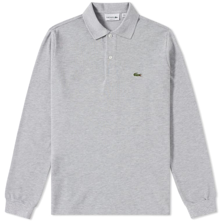 ad1c8f18a078ae Lacoste Long Sleeve Classic Pique Polo Silver Marl flat 1